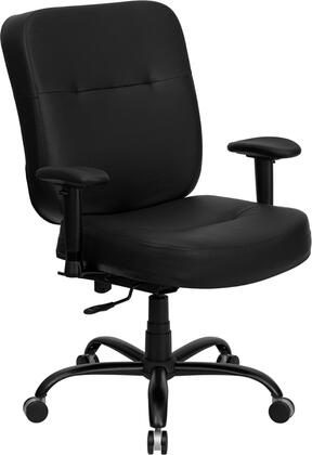 WL-735SYG-BK-LEA-A-GG HERCULES Series 400 lb. Capacity Big and Tall Black Leather Office Chair with Arms and Extra WIDE