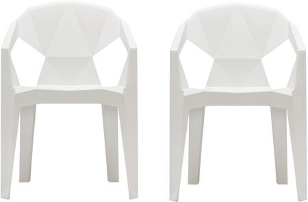 "V1715 Set of 2 32"" 3D Stacking Chair with Draining Hole  Angular Back Design  Tapered Legs  Indoor/Outdoor Use and Polypropylene Resin Material in White"