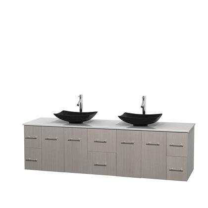 Wcvw00980dgowsgs4mxx 80 In. Double Bathroom Vanity In Gray Oak  White Man-made Stone Countertop  Arista Black Granite Sinks  And No