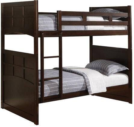 Jasper Collection 460136 Twin Over Twin Size Bunk Bed with Ladder Included and Transitional Style in Cappuccino