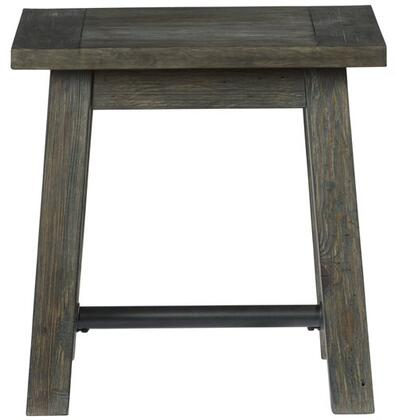 River Court T505-04 Square End Table with Metal Stretchers and Solid Pine Construction in Weathered Smoke and Metal