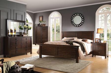 Brooklyn 23710Q5PC Bedroom Set with Queen Size Bed + Dresser + Mirror + Chest + Nightstand in Espresso