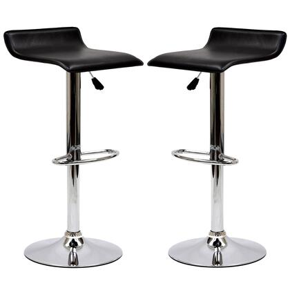 Gloria Collection EEI-937-BLK Set of 2 Bar Stools with 360 Degree Swivel Seat  Chromed Steel Base and Leatherette Seat Upholstery in Black
