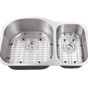SC703016 All-in-One Undermount Stainless Steel 30x19x9 0-Hole Double Bowl Kitchen