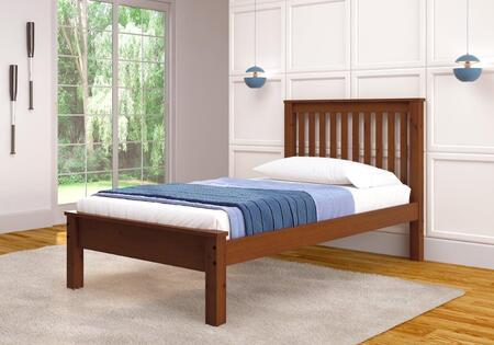 500TE Twin Size Contemporary Bed with Slat Kit  Slat Headboard and Wood Construction in