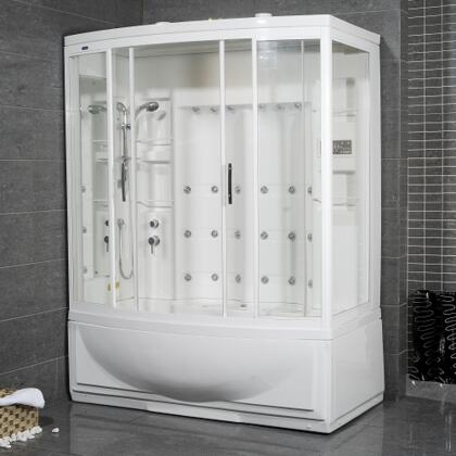 ZAA210-R Steam Shower with Whirlpool Bath  White  24 Body Jets  2 Built-In  Seats 12V Light  Storage Shelves - Right