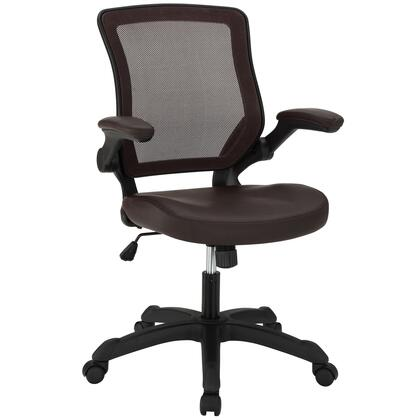 Veer Collection EEI-291-BRN Office Chair with Pneumatic Height Adjustment  Flip-Up Arms  Tilt Tension Control  Breathable Mesh Back and Vinyl Seat Upholstery