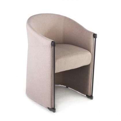 Elida FV398BEIGE Arm Chair with Piped Stitching  Stainless Steel Construction and Fabric Upholstery in