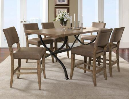 4670CTBRS47 Charleston 7-Piece Counter Height Rectangle Wood Dining Set w/Parson Stool  Desert