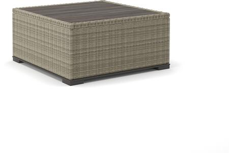 Silent Brook Collection P443-708 35 inch  Outdoor Square Cocktail Table with Wood-Look Resin Top  Resin Wicker and Rust-Proof Aluminum Construction in