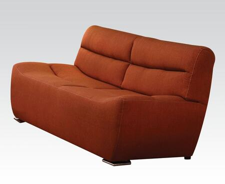 Kainda Collection 51710 80 inch  Sofa with Chrome Legs  Wood Frame  Tight Back and Seat Cushions and Linen Upholstery in Orange