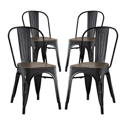 Promenade Collection EEI-2752-BLK-SET Dining Side Chair with Non-Marking Feet Caps  Modern Style  Laminated Bamboo Seat and Powder Coated Steel Frame in Black
