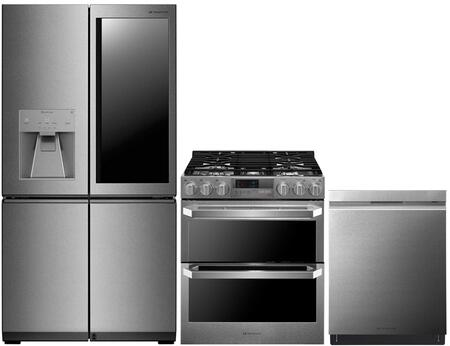 3-Piece Stainless Steel Kitchen Package with LUPXC2386N 36 inch  French 4 Door Refrigerator  LUTD4919SN 30 inch  Slide-In Dual Fuel Range and LUDP8997SN 24 inch  Fully