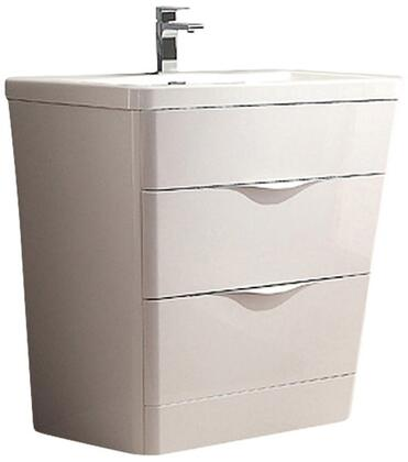 Milano Collection FCB8532WH-I 32 inch  Single Vanity with Integrated Acrylic Sink  2 Soft Closing Drawers and Tapered Shaped in Glossy