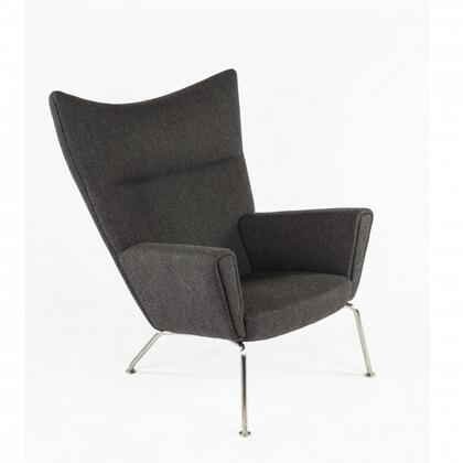 Hoffman FEC8038TWBLK Lounge Chair with Stainless Steel Legs  Piped Stitching and Fabric Upholstery in Twill