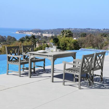 Renaissance Collection V1626set7 5 Pc Outdoor Dining Set With Rectangle Table  4 Armchairs  Umbrella Hole And Hand-scraped Acacia Hardwood In Grey