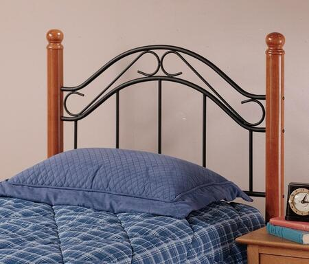 Winsloh Collection 164HTW Twin Size Headboard with Rounded Finials  Wood Posts and Open Metal Frame Panel in Black and Medium
