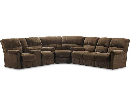 Griffin Collection 327-43-04-59/4148-21 3-Piece Sectional Sofa with Double Reclining Console Loveseat  Wedge and Power Double Reclining Sofa in