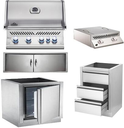 5-Piece Stainless Steel Outdoor Kitchen Package with BIPRO500RBPSS2 31 inch  Liquid Propane Grill  BISZ300PFT 20 inch  Side Burner  IMFHR 35 inch  Outdoor Refrigerator
