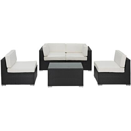 Camfora Collection EEI-694-EXP-WHI-SET 5-Piece Outdoor Sectional Set with Coffee Table  Left End Section  Right End Section and Two Armless Chairs in Espresso