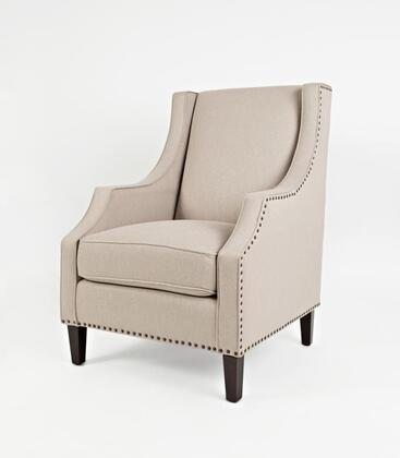 Easy Living Morgan Collection MORGAN-CH-TAUPE 18 inch  Accent Chair with Nail Head Trim  Dark Arabica Tapered Legs  Removable Seat Cushion  Track Arms and Fabric