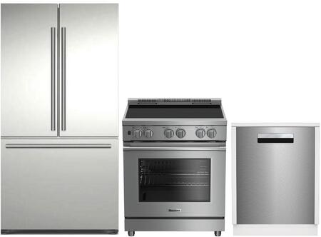 3-Piece Kitchen Package with BRFD2230SS 36 inch  French Door Refrigerator  BIRP34450SS 30 inch  Slide In Electric Range  and DWT58500SSWS 24 inch  Built In Fully Integrated