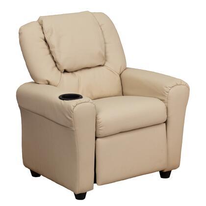 DG-ULT-KID-BGE-GG Contemporary Beige Vinyl Kids Recliner with Cup Holder and 435548
