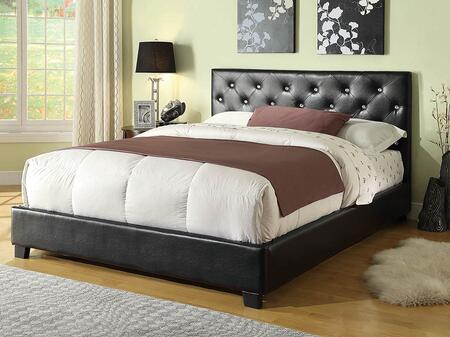 Regina Bed Collection 300391F Full Size Bed with Leatherette Upholstery  Button Tufted Headboard and Sturdy Wood Frame Construction in