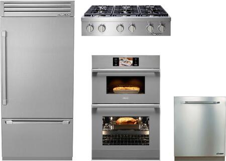 4-Piece Stainless Steel Kitchen Package with DYF36BFTSR 36 inch  Bottom Freezer Refrigerator  DYRTP366SNG 36 inch  Natural Gas Cooktop  DOC30M977DS 30 inch  Combi Wall Oven