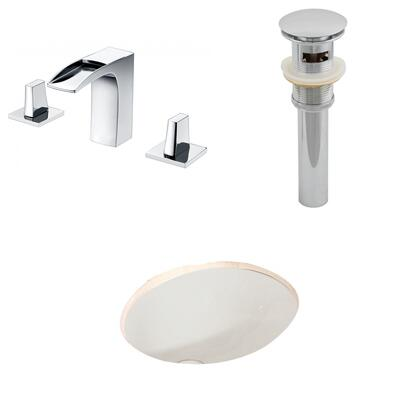 AI-13250 19.75-in. Width x 15.75-in. Diameter CUPC Oval Undermount Sink Set In Biscuit With 8-in. o.c. CUPC Faucet And