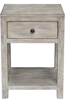 DS-D146-001 Reclaimed Wood Side Table with One Drawer  Burnished Brass Hardware and Stationary Display Shelf in Weathered White Wash