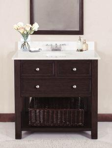 WF6621-36M Single Sink Wood Vanity With White Sand Marble Top and