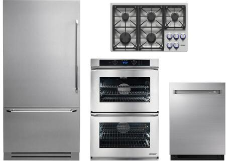 4-Piece Stainless Steel Kitchen Package with DYF36BFBSR 36 inch  Bottom Freezer Refrigerator  DYCT365GSNG 36 inch  Natural Gas Cooktop  RNWO230ES 30 inch  Electric Double