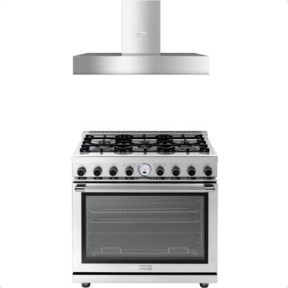 2-Piece Stainless Steel Kitchen Package with RN361SPSS 36 inch  Freestanding Dual Fuel Range