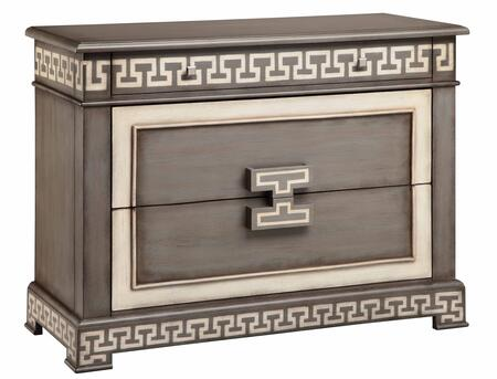 Ronan 13173 43 2-drawer Chest With Block Feet  Greek Key Design And Decorative Hardware In
