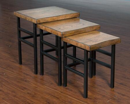 Live Edge Collection 2002NM 3-Pieces Nesting Table Set with Live Edge  Distressed Metal Base and Stretchers in Natural Mindi