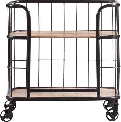 DS-D051017 25 inch  Industrial Wood & Metal Trolley Bar Cart with Solid Wood Shelves  Metal Frame and Casters in Rustic Oak