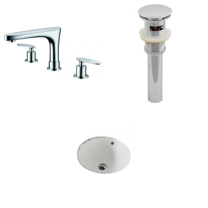 AI-13207 15.5-in. Width x 15.5-in. Diameter CUPC Round Undermount Sink Set In Biscuit With 8-in. o.c. CUPC Faucet And