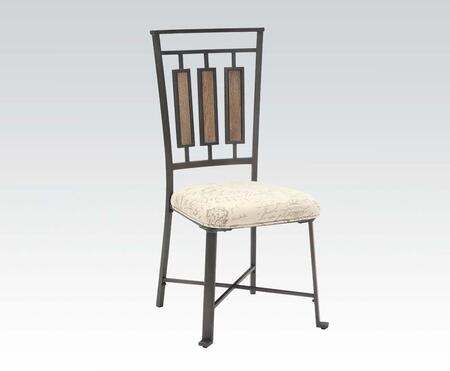 Dervon Collection 71652 Set of 2 18 inch  Side Chairs with Fabric Cushion Seat and Metal Construction in Light Oak and Grey