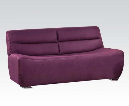 Kainda Collection 51715 80 inch  Sofa with Chrome Legs  Wood Frame  Tight Back and Seat Cushions and Linen Upholstery in Purple