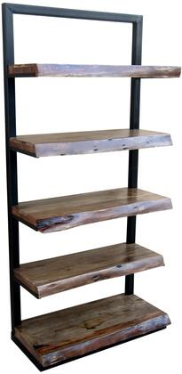 Ladder 13419 76 inch  Shelf with Five Floating Shelves  Black Iron Frame and Wood Shelves in