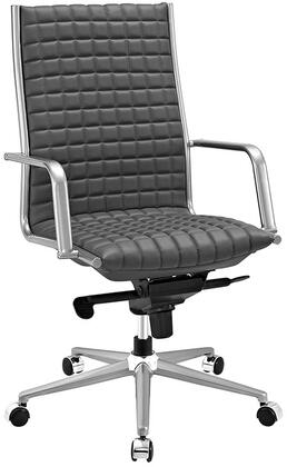 Pattern Collection EEI-2122-GRY Office Chair with 360-Degree Swivel  Adjustable Height  Tilt Control  Five Dual-Wheel Nylon Casters  Polished Steel Armrests