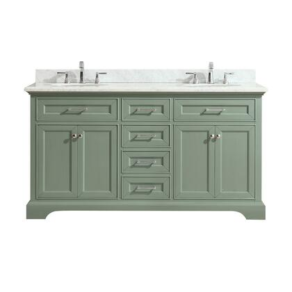 MERCER-VS60-SG-C Mercer 61 inch  Double Sink Vanity in Sea Green Finish with Carrera White Marble