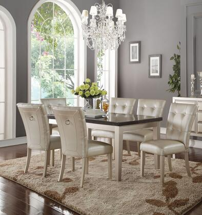 Voeville II Collection 72025C6SET 7 PC Dining Room Set with Bluestone Marble Top Dining Table and 6 PU Leather Upholstered Side Chairs in Platinum
