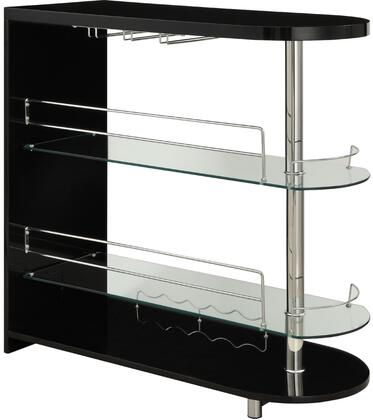 Yashvin Collection 71320 42 inch  Bar Table with 8mm Clear Tempered Glass Shelves  Stemware Racks  Wine Bottle Rack and Chrome Metal Tube in Black and Chrome