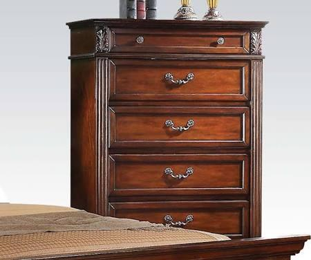Roman Empire III Collection 23349 39 inch  Chest with 5 Drawers  Metal Hardware  Felt Lined Top Drawer and Side Metal Drawer Glides in Dark Walnut