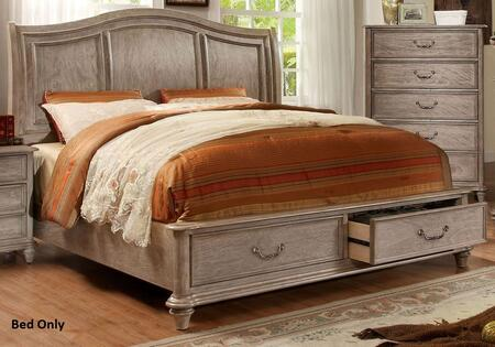 Belgrade I Collection CM7613EK-BED Eastern King Size Platform Bed with 2 Drawers  Camelback Headboard  Solid Wood and Wood Veneers Construction in Rustic