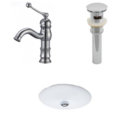 AI-13236 19.5-in. Width x 16.25-in. Diameter CUPC Oval Undermount Sink Set In White With Single Hole CUPC Faucet And
