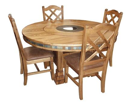 Sedona Collection 1225RODT4C 5-Piece Dining Room Set with Round Dining Table and 4 Chairs in Rustic Oak