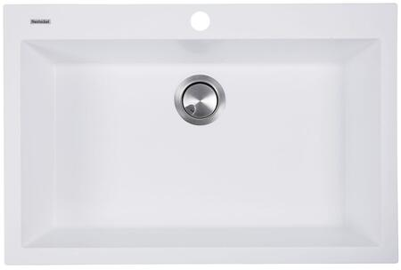 Plymouth Collection PR3020-DM-W 30 inch  Single Bowl Dual-Mount Sink with Granite Composite Material  Heat Resistant Design  Sound Absorbing and Non-Porous Surface